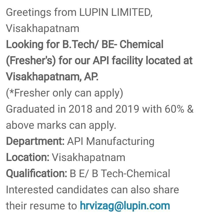 Chemical engineer freshers job openings india in 2020