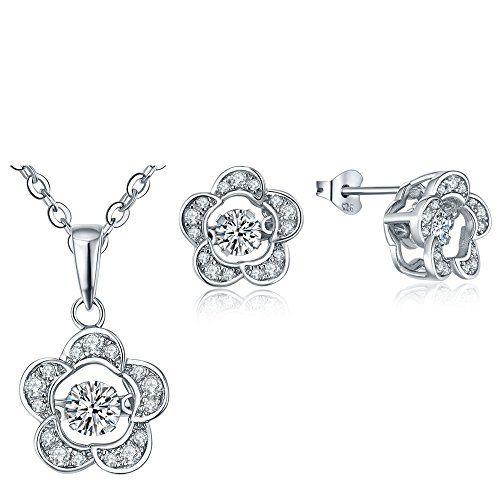 Women's Sterling Silver Cubic Zirconia Flower Jewellery Set In A Gift Box bhhdSmmqQ