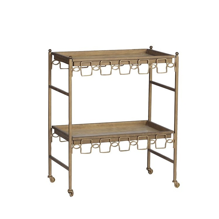 Lacy Bar Cart | #GabbyDecor | Antique Style Furniture | Transitional Furniture When you need portable storage or an elegant serving cart, the Lacy Bar Cart will work, and beautifully!  With removable horn and brass colored trays and smooth rolling casters, this is a great piece to add to your transitional dining room furniture today.