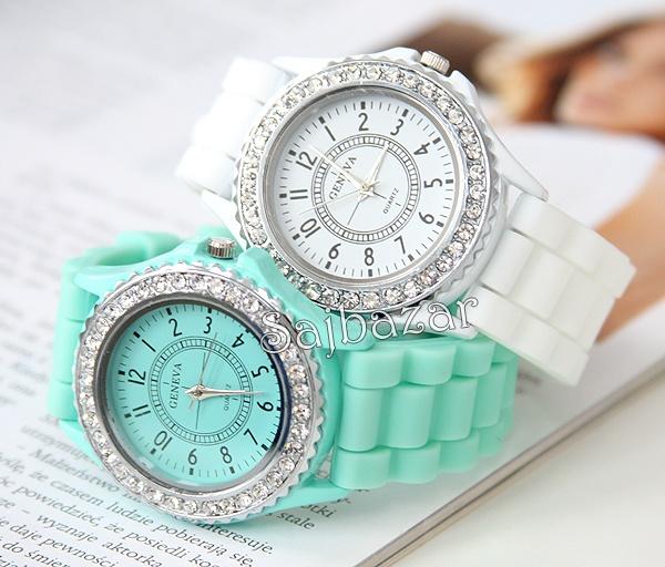 www.sajbazar.com  white, mint crystal geneva watch