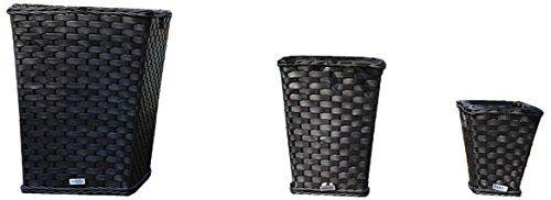Yakoe 21220 Square Plastic Rattan Effect Indoor/Outdoor Garden Planters Pot - Black (Set of 3)