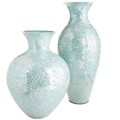 Aqua Mosaic Vases