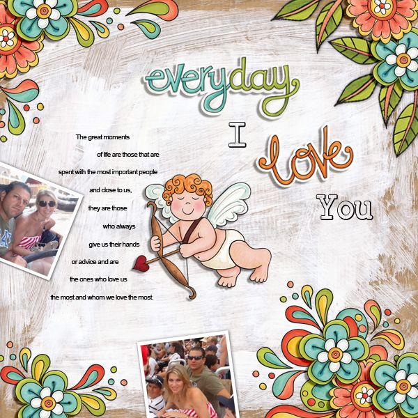 Everyday I Love You - Valentines digital scrapbook layout created by Karen using digital scrapbooking kits from Kate Hadfield Designs.