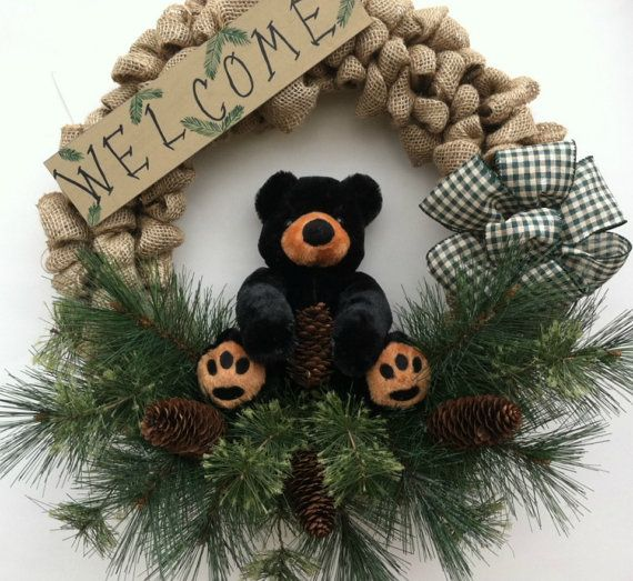 Hey, I found this really awesome Etsy listing at https://www.etsy.com/listing/244761063/cabin-decor-bear-decor-rustic-wreath