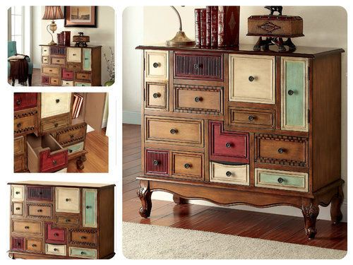 Accent-Cabinet-With-Drawers-Storage-Furniture-Walnut-Vintage-Wood-Chest-Display