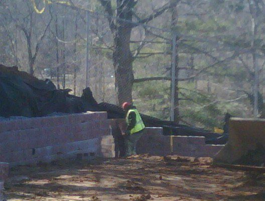 Hard at work on the #masonry barrier
