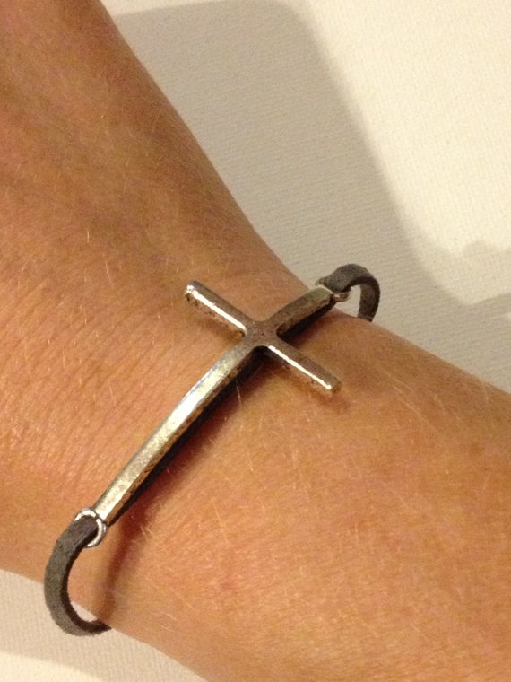 Handmade Sideways Cross Bracelet by whistlindixie12 on Etsy, $12.00