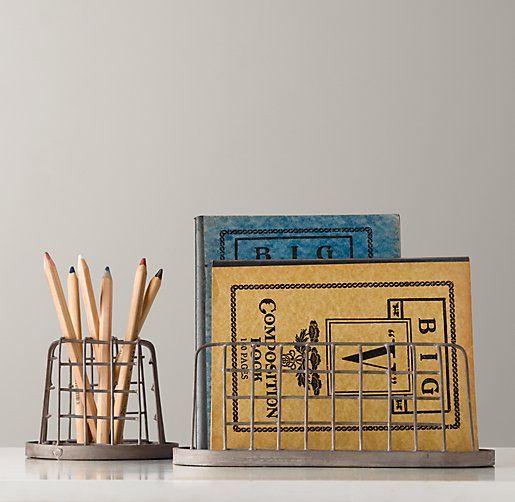 Industrial Desk Accessories - Pencil Cup & Paper Holder Set | Desk Storage | Restoration Hardware Baby & Child