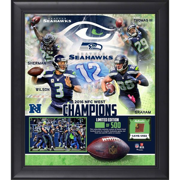 """Seattle Seahawks Fanatics Authentic Framed 15"""" x 17"""" 2016 NFC West Division Champions Collage with a Piece of Game-Used Football - $89.99"""