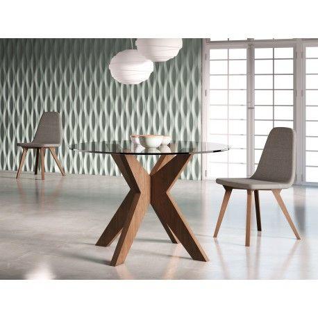 Mesa de comedor moderna con tapa de cristal, color: nogal