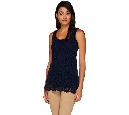 Kelly by Clinton Kelly Sleeveless Top with Lace Front Detail