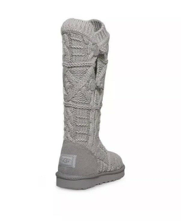 8310dd6db83 UGG Boots Kalla Crochet Sweater Knit/Leather Seal Gray Size 9 NEW No ...