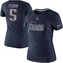 Women's Nike New England Patriots Tim Tebow Name & Number T-Shirt
