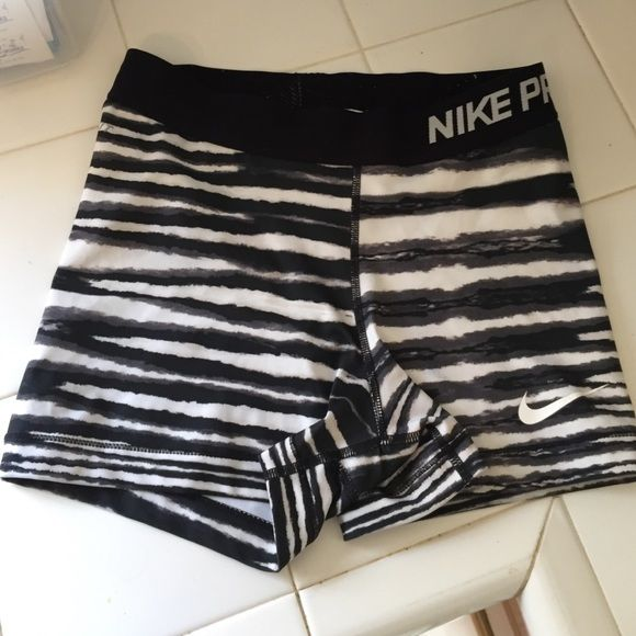 Nike pros! 2/$20 Black and white striped Nike pros size small great condition! Nike Shorts