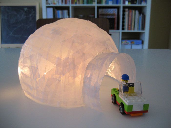 "Paper mache Igloo. DIY kids craft for winter time. Pinner says, ""Light it up easy & cheaply with this: http://www.flashingblinkylights.com/ledsubmersiblecraftlights-c-114_462.html"""