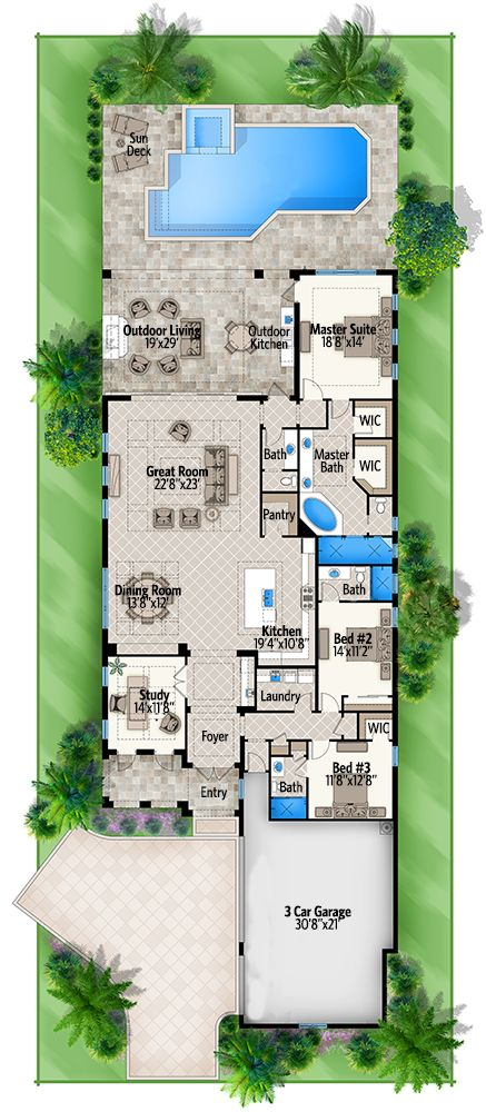 3 Bed Coastal Home Plan with 2 Elevations - 86015BW | 1st Floor Master Suite, Butler Walk-in Pantry, CAD Available, Den-Office-Library-Study, Florida, Mediterranean, Narrow Lot, PDF | Architectural Designs