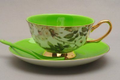 Satin Shelley Green Bone China Tea Cup & Saucer Set by Coastline Imports, http://www.amazon.com/dp/B00642FPVM/ref=cm_sw_r_pi_dp_wyLkrb09E9VFF: