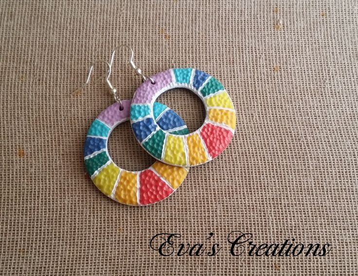 Rainbow round earrings