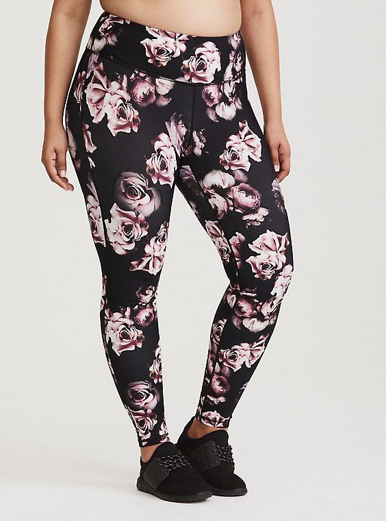 2add58a2ee90e6 Black Floral Active Legging | CLOTHES | Floral leggings, Plus size ...