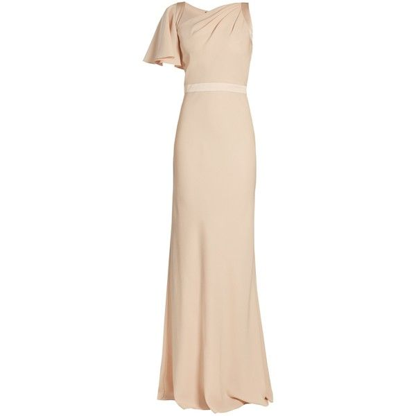 Alexander McQueen Asymmetric one-shoulder crepe gown ($2,895) ❤ liked on Polyvore featuring dresses, gowns, light pink, short cocktail dresses, evening gowns, short pink dress, pink cocktail dress and pink ball gown