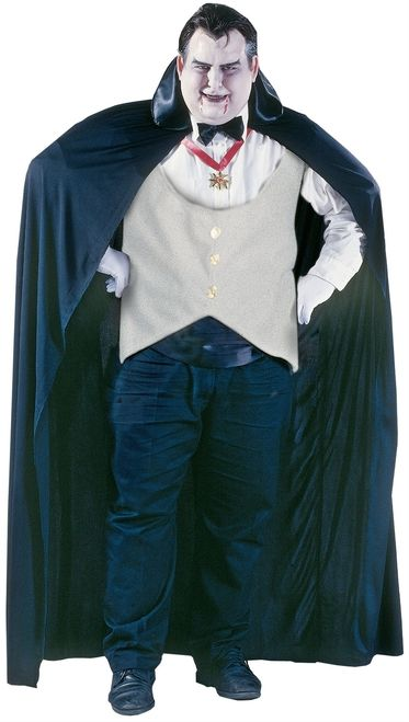 Dracula Vampire Plus Size Adult Halloween Costume - The blood is calling for you... This is an awesome plus sized Dracula Vampire costume with cape, vest, bow tie, cummerbund and medallion. Give everyone a spook this Halloween! #YYC #Calgary #costume #Vampire #Dracula