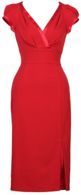 CNDYAP-03 RED - A curve-flattering red dress you've been looking for This dress will hug the contours of your body while still keeping its shape.The dress zips up the back and has small cap sleeves to flatter any arm shape! The dress slightly crosses over at the bust, creating a beautiful V-neckline outlined with satin trim (also found around arm holes). With a fitted bodice and midriff and a pencil-cut skirt with a slit in the front revealing more of the satin fabric