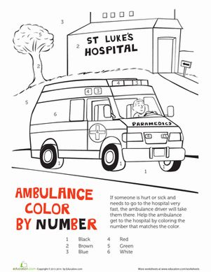 ambulance color by number - Ambulance Pictures To Colour