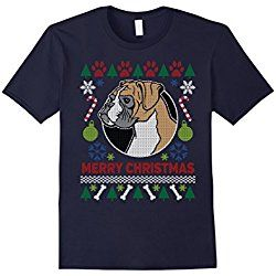 Men's Boxer Dog Breed Owners Ugly Christmas T-shirt XL Navy