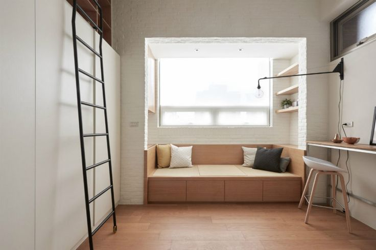 Living area is built into an alcove
