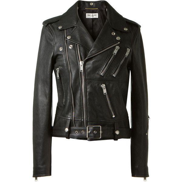 Saint Laurent black leather biker jacket found on Polyvore