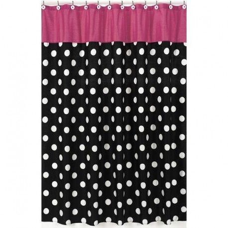 Hot Pink And Black Polka Dot Shower Curtain