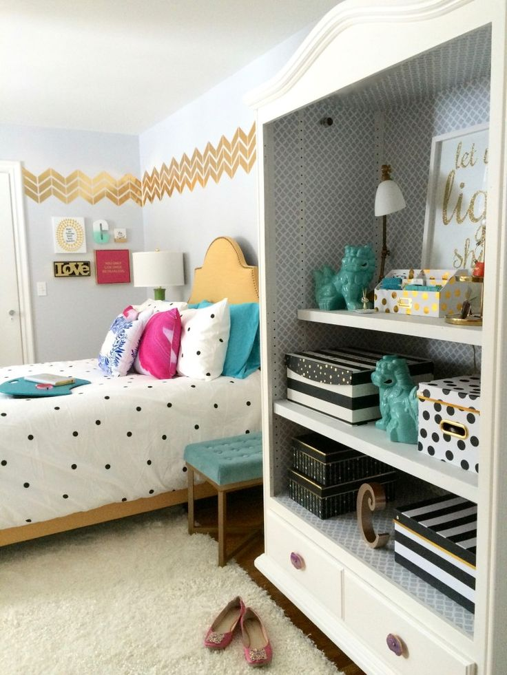 Black, white and Chic all over; Teen room makeover with Raymour & Flanigan. polka dots, chevrons, and stripes.