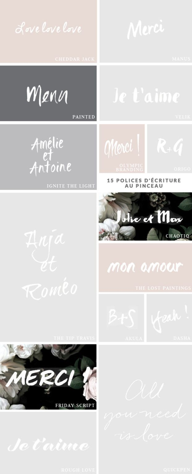 15 polices d'écriture au pinceau à télécharger Handlettering Fonts modern Calligraphy