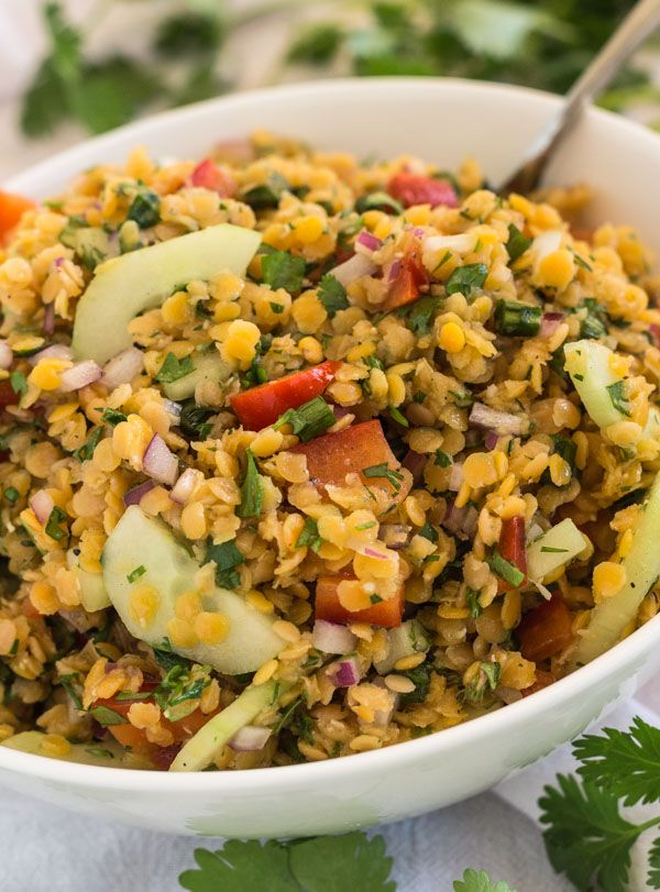 Red Lentil Confetti Salad with fresh herbs, red pepper and cucumber, red onion and red wine vinegar dressing. Perfect for potluck dinners! [from LettysKitchen.com]