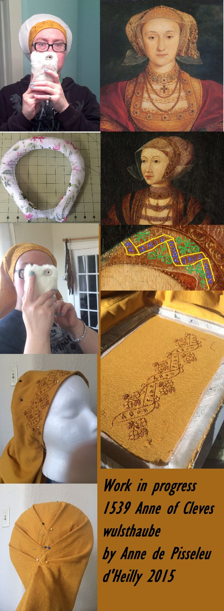 WIP 1539 Anne of Cleves wulsthaube recreated by Anne de Pisseleu d'Heilly Renaissance Inspired by Katafalk