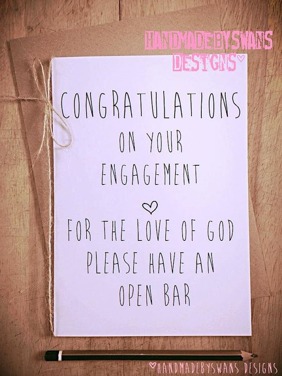 Please have an open bar engagement wedding congratulations Greetings Card