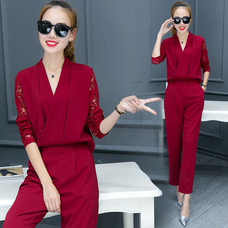 Fashionable Women V Neck Shirt Pants Suit New 2016 Autumn Korean Fashion Women'S Clothing Leisure Two-Piece Social Outfit Sets
