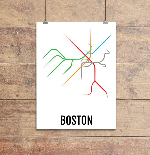Boston Subway Map Print - Boston T Transit Map - Poster, Boyfriend Gift, Husband…