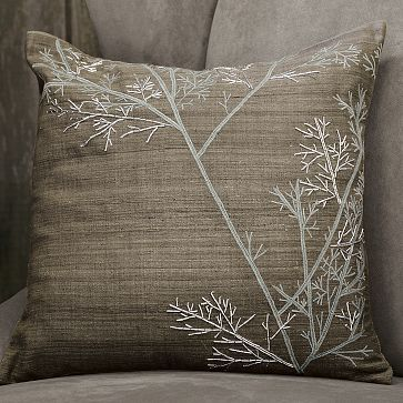 Embroidered Winter Branch Pillow
