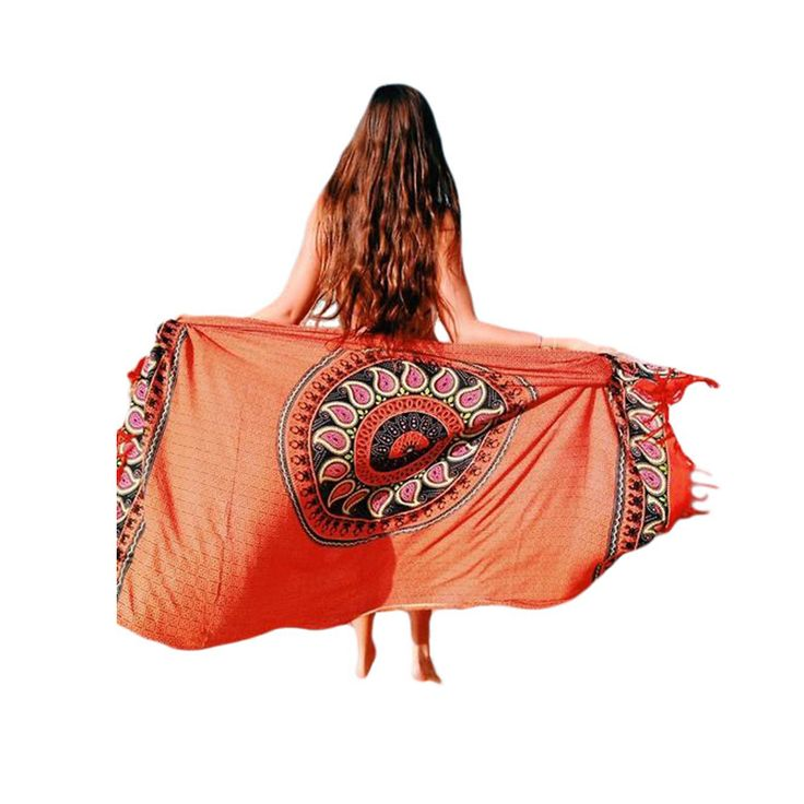 Gypsy Pattern Style Tassel Trim Beach Blanket summer swimming beachwear Outdoor Camping Mattress cheap Cover-Ups 42116