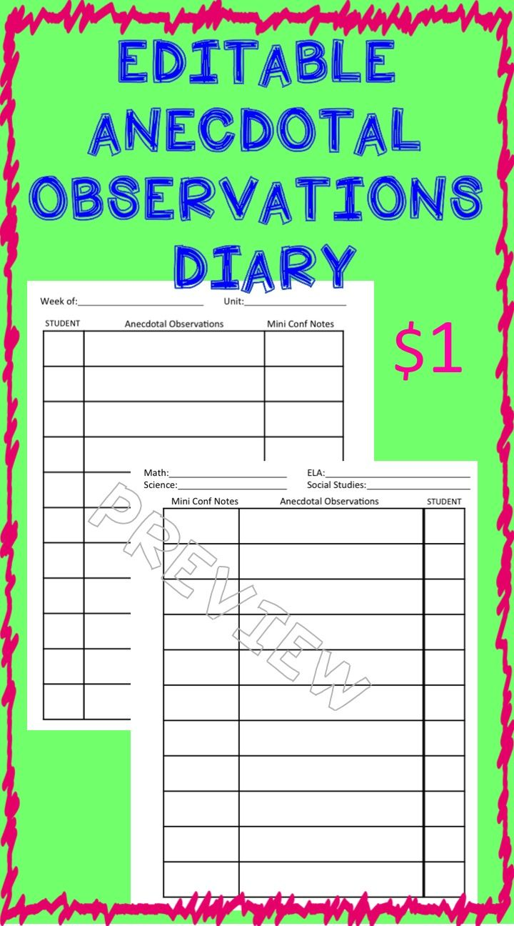 anecdotal assessment template - editable anecdotal records diary minis student and style