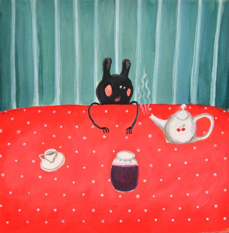 """""""A table"""", acrylique, 20x20cm"""