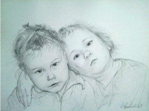 A custom pencil portrait of two person. 16x 12  40x30 by kaguzal, author Kamila Guzal-Pośrednik
