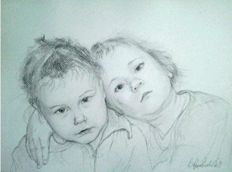 A custom pencil portrait of two person. 16x 12  40x30 by kaguzal, author Kamila Guzal-Pośrednik