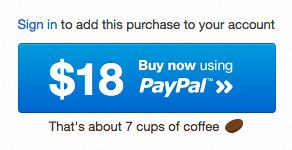 wrapbootstrap.com know how to put things into perspective with converting price of the bootstrap theme to 7 cups of coffee.