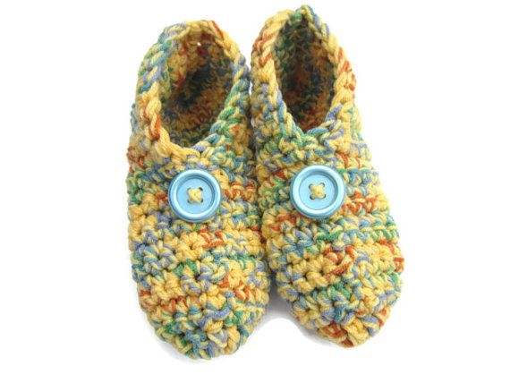 Crochet Slippers in Yellow and Multicolor Size Medium, Crocheted House Shoes, Yellow Slippers #bestofEtsy #etsymnt