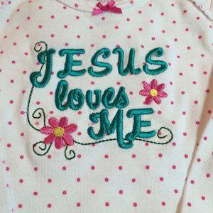 "Buyer photo J  using Original Stitches ""Jesus Loves Me"" embroidery design."