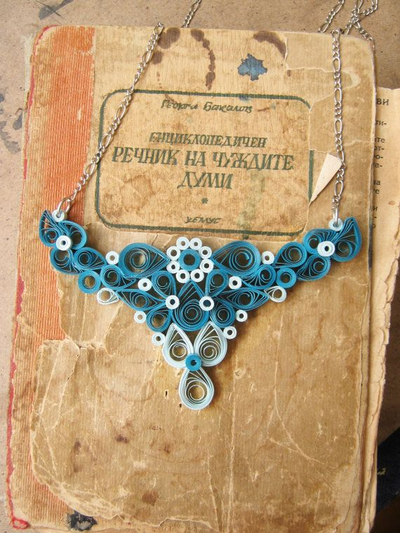 Unique Paper Necklace Paper anniversary gift for her ~ Modern necklace made out of paper with filigree technology. Handmade out of precisely cut