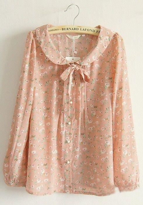 Pink Floral Buttons Belt Puff Sleeve Silk Blouse