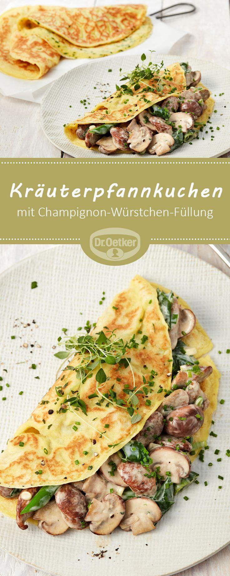 Kräuterpfannkuchen mit Champignon-Würstchen-Füllung: Pikante Pfannkuchen mit einer Gemüse-Würstchen-Füllung für jeden Tag